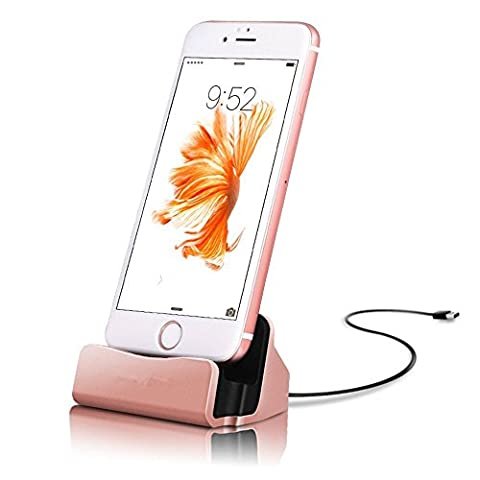 Iphone 7 Charger Dock,Xun Di Durable iPhone 7 Plus Charger Cradle Lightning Charging Station Stand [Fast Charging] Backward Compatible with iPhone 6 6 Plus, iPod Nano 7th Gen (Rose (Dock Plus For Iphone 6)