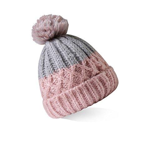 Pink Knit Beanie Hat - 4