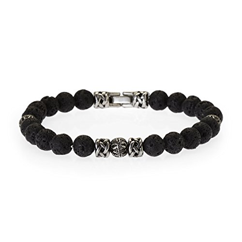 Blackjack Jewelry Mens Genuine Semi Precious Natural Lava Stone Stainless Steel Bead Bracelet (Grey (Lava stone)) by Blackjack Jewelry