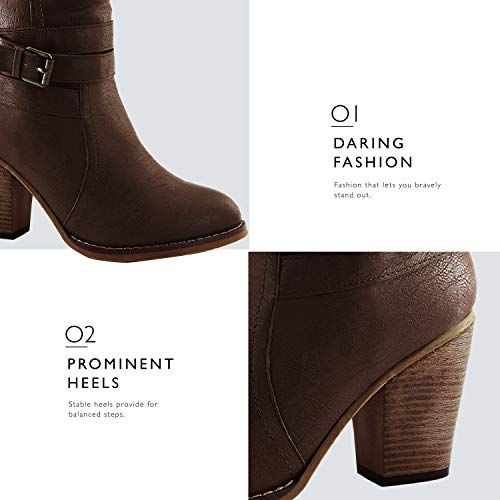 Women's Ankle Heel Western Strappy Boot DailyShoes Cowboy Buckle Chunky Brown High YcdwcSq8