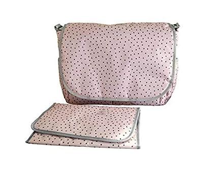My Bags Bolso Carro Bebe Bandolera + Colchoneta Bebe + Cambiador Rosa Estampado Topitos Lunas y Estrellas