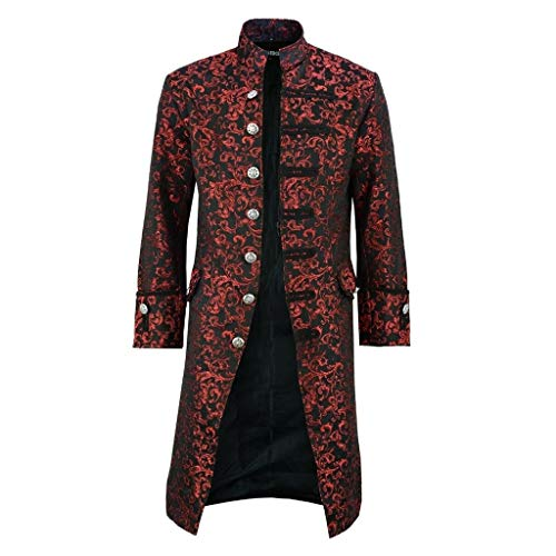 LUCAMORE Mens Vintage Goth Jacket Steampunk Victorian Frock Coat Stand Collar Button Coat Costume for Halloween -