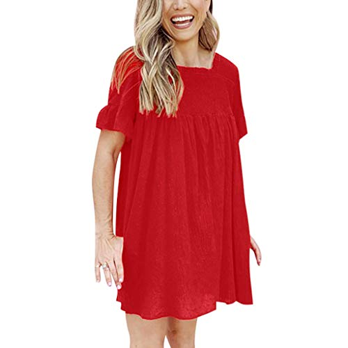 Big Sale,Yetou Womens Party Dress Dot Jacquard Loose Plain Ruffle Sleeve Dress Casual Swing Party Dress Red