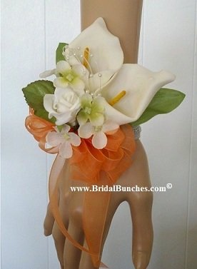 Double Calla Lily Lilies Orange Wedding Flowers Prom Wrist Corsage Corsages By Bridal Bunches© (Double Calla Lily)