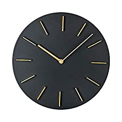 MOTINI Modern Silent Wall Clock Non Ticking,11 Inch Round Creative Quartz Wall Clocks Decorative for Home Office Battery Operated Industrial Style