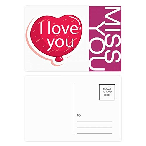 Valentine's Day Pink I Love You Balloon Miss Postcard Set Thanks Card Mailing Side 20pcs