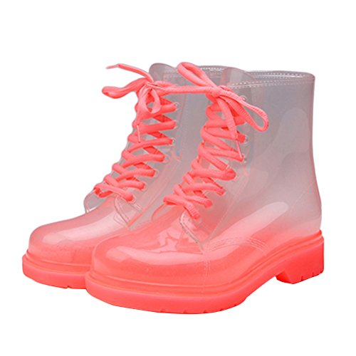 OMGard Women Clear Low Ankle Jelly Rain Boots Mid Height Mid Calf Snow Rainboot Pink Size - Transparent Pink Boots