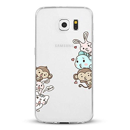Caler Coque Samsung Galaxy S7/S7 Edge, Transparent Ultra mince Housse Etui Coque Anti-choc de Protection Flexible Silicone Souple TPU Intéressant Design (Singe animal, Samsung Galaxy S7)