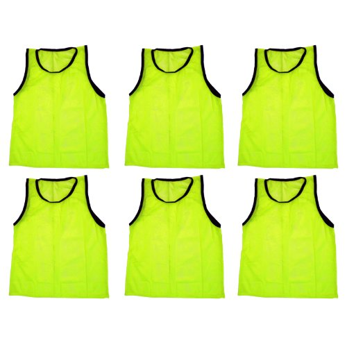 BlueDot Trading Youth 6 Yellow sports pinnies- 6 scrimmage training vests