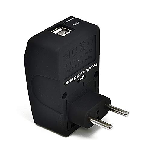 Ceptics 2 USB Europe Travel Adapter 4 in 1 Power Plug (Type C) - Universal Socket - GP4-9C - (Does Not Convert Voltage)
