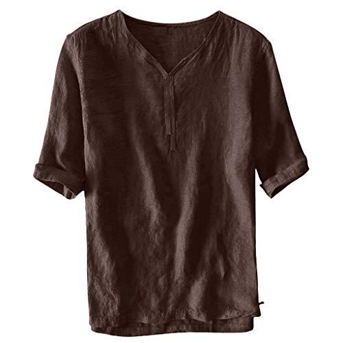 iHPH7 Shirts Casual Short Sleeve Loose Fit Beach Shirts Hawaiian Shirt for Men (XXL,Khaki) -