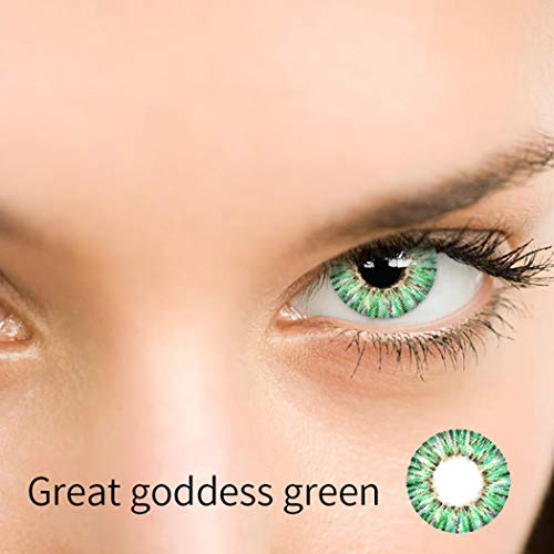 Dicesnow Cosplay Large Diameter 4 Colors Eyes Color Contacts Lens Eyes Makeup Cosmetic(One Piece Green)
