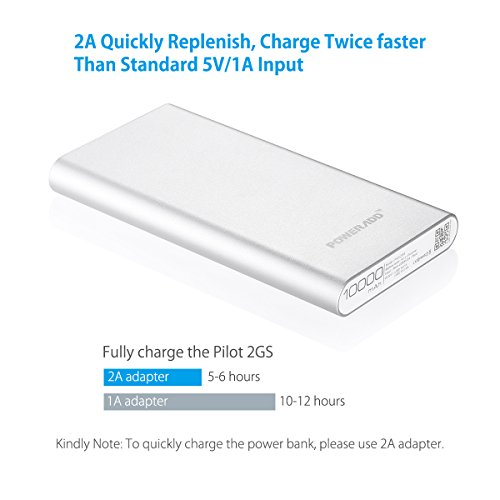 Upgraded Poweradd 2nd Gen 34A Pilot 2GS 10000mAh 2 USB mobile or portable External Battery Charger electricity Bank because of Li polymer Battery Cells and metallic Body for iPhone iPad Samsung HTC LG and additional Silver around Chargers