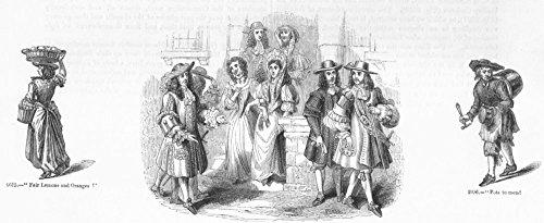 Costume Society Uk (MERCHANTS. Fruit, pots; gentry costumes 1687 - 1845 - old print - antique print - vintage print - Society art prints)