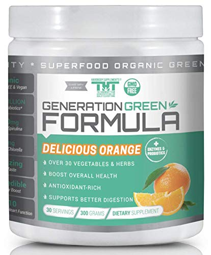 Generation Greens Powder | Organic Superfood Powder with 60 Powerful Ingredients | Chlorella, Spirulina, Wheat Grass and CoQ10 Included | 30 Servings, Orange (Total Living Drink Greens Vs Athletic Greens)