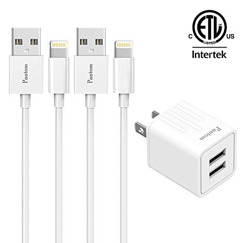 Pantom 2.4A Dual USB Wall Charger and 2-Pack 5-Feet Cable Cord Charging Compatible with iPhone 11/11 Pro Max/XS/XS MAX/XR/X/8/8 Plus/7/7 Plus/6s/6s Plus/5s/5 SE/5c/5 iPad Pro/Mini/Air iPod Touch (Cheap Ipod 5 Charger)