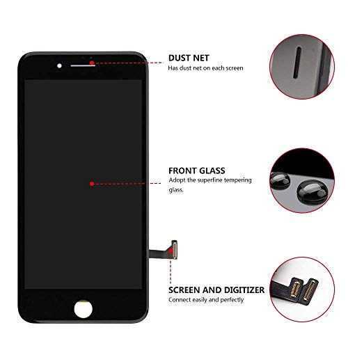 Screen Replacement for iPhone 7 Plus Black for LCD Display & Touch Screen Digitizer Frame Assembly Set with 3D Touch Free Repair Tool by FFtopu (Image #2)