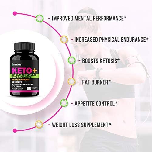 Potent Apple Cider Vinegar with BHB Salts Boosts Ketosis ACV Detox Support Fat Burner & Weight Loss Supplement Keto Pills for Women Men 2 Pack 90 Vegetarian Capsules (180 Count) 4