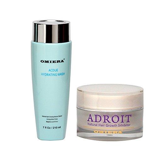 Inhibiteur de croissance des cheveux Adroit Omiera Labs crème (1,0 fl oz) & Acdue acné Facial Wash (7,0 oz liq)
