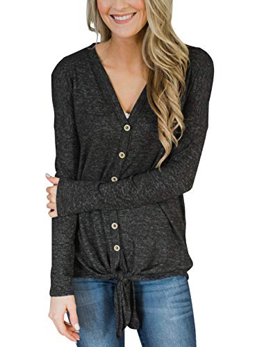 PRETTODAY Women's Tie Front Button Down Shirts Long Sleeve/Sleeveless Casual Blouse Tops