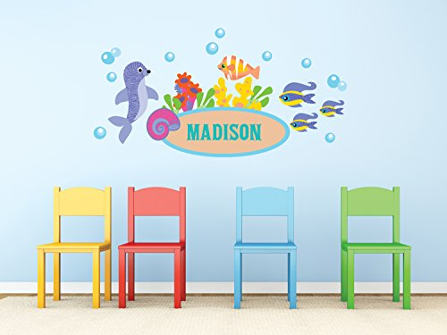 (Under the Sea Custom Name Fabric Wall Decals, Custom Name with Seal, Fish, and Bubbles, Reusable and)