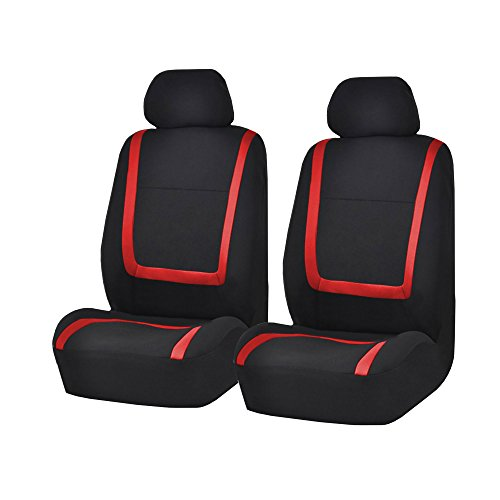 fh group fb032red114 red unique flat cloth car seat cover w 4 detachable headrests and solid. Black Bedroom Furniture Sets. Home Design Ideas