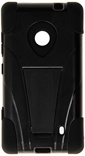 HRWireless T-Stand Impact Kickstand Hybrid Double Layer Fusion Cover Case for Nokia Lumia 521 - Retail Packaging - -