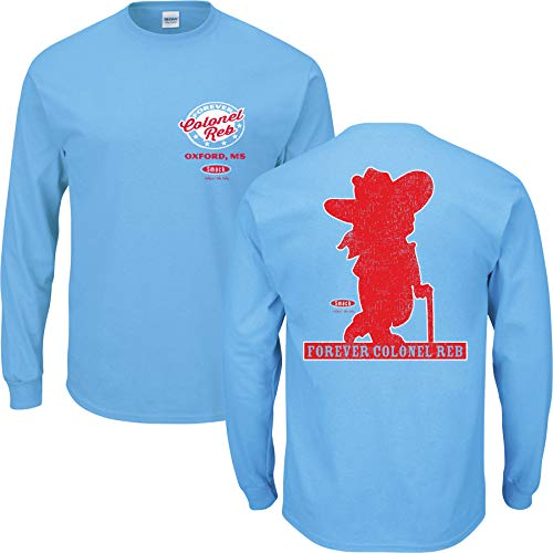 Smack Apparel Ole Miss Fans. Colonel Reb Light Blue T Shirt (Sm-5X) (Long Sleeve, - Long Miss Sleeve Ole