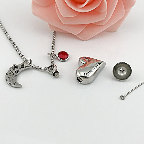 YOUFENG Urn Necklaces for Ashes I Love You to the Moon and Back for Mom Cremation Urn Locket Birthstone Jewelry (July urn necklace) by YOUFENG (Image #3)
