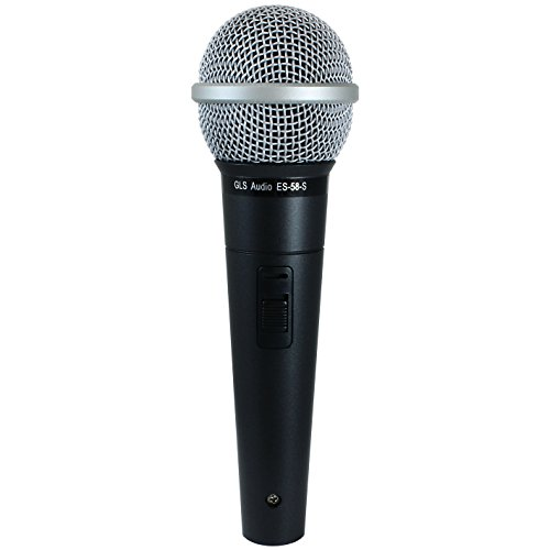 Dynamic Loz Microphone - GLS Audio Vocal Microphone ES-58-S & Mic Clip - Professional Series ES58-S Dynamic Cardioid Mike Unidirectional (With On/Off Switch)