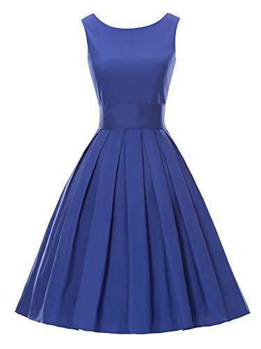 Luouse 'Lana' Vintage 1950's Inspired Rockabilly Swing Dress(Blue,Large)