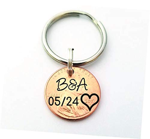 Lucky Penny  Boyfriend Gift  Anniversary Gift  Custom Penny  1 Year Anniversary  Penny Keychain  Gift for Husband  Personalized
