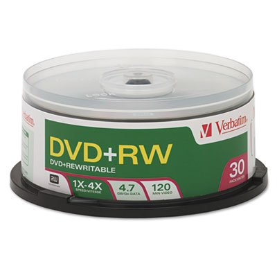 DVD+RW Discs, 4.7GB, 4x, Spindle, 30/Pack, Sold as 1 Package, 30 Each per Package