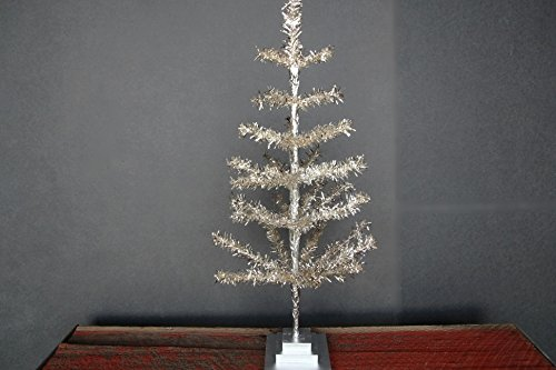 24'' Silver Christmas Tinsel Tree Retro Style Silver Feather Tinsel Tree by Lee Display (Image #7)