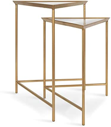 Kate and Laurel Trena Glam Metal Triangle Nesting Tables, Set of 2, Gold with Mirrored Surface, Decorative End Tables for Display and Storage