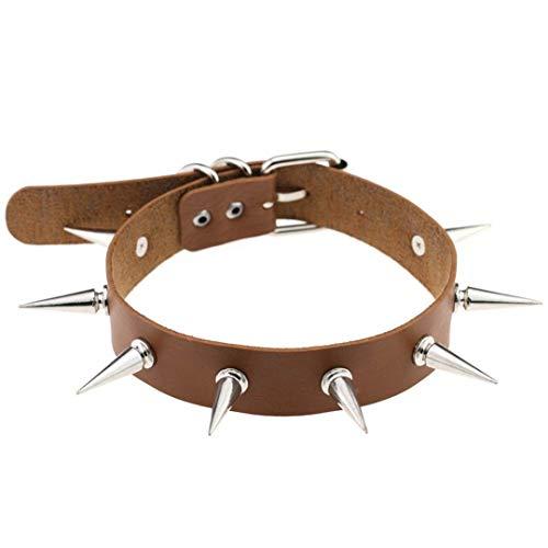 ZHENFSH Black Spike Choker Belt Collar Women Pu Leather Goth Choker Necklace for Women Party Club Chocker Sexy Gothic Jewelry Harajuku Light -