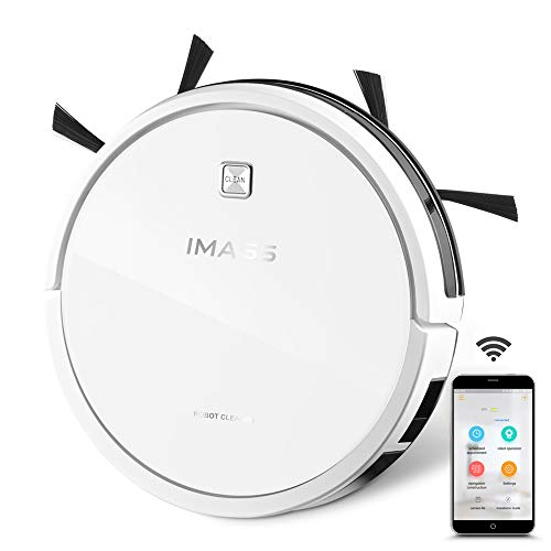 IMASS Robot Vacuum with App Control Self-Charging, Robotic Vacuum Cleaner 3-in-1 with Mopping Design for Pet Hair Carpets Tile Hard Floors (White)