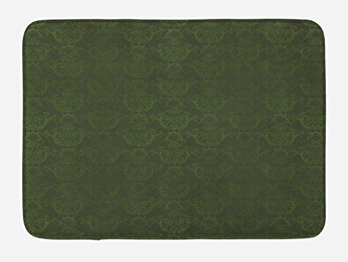 Hunter Green Mat - Lunarable Hunter Green Bath Mat, Victorian Damask Rococo Renaissance Swirled Classic Floral Petals Pattern, Plush Bathroom Decor Mat with Non Slip Backing, 29.5 W X 17.5 W Inches, Hunter Green