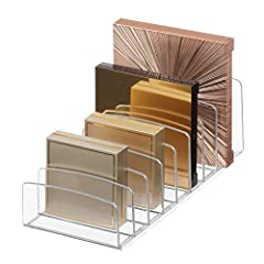 The iDesign Clarity Cosmetic Palette Organizer is a great way to keep makeup and other cosmetic necessities neat and tidy at the bathroom vanity, counter top, dressing table or inside a cabinet. It features nine open compartments to verticall...