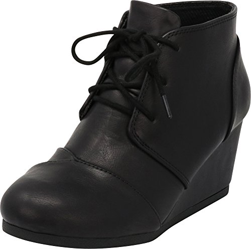Cambridge Select Women's Lace Up Wedge Heel Ankle Bootie (7.5 B(M) US, Black PU)