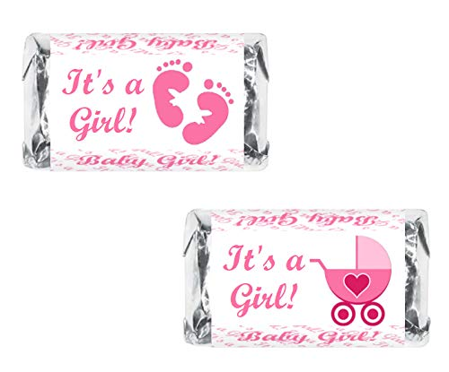 60 Pink Its a Girl Baby Shower Miniatures Candy Bar Wrapper, Baby Shower Miniatures Candy Bar Stickers  (Shower Wrappers Candy Miniature Baby)