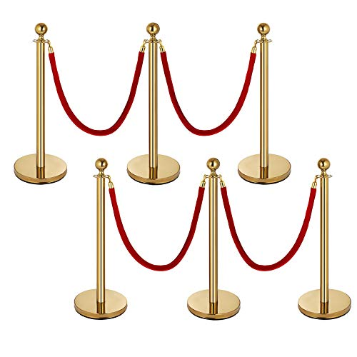 Mophorn 6 PCS Gold Stanchion Post Queue Red Stand Rope Retractable 38In Crowd Control Queue Line Barrier (Gold-Red -
