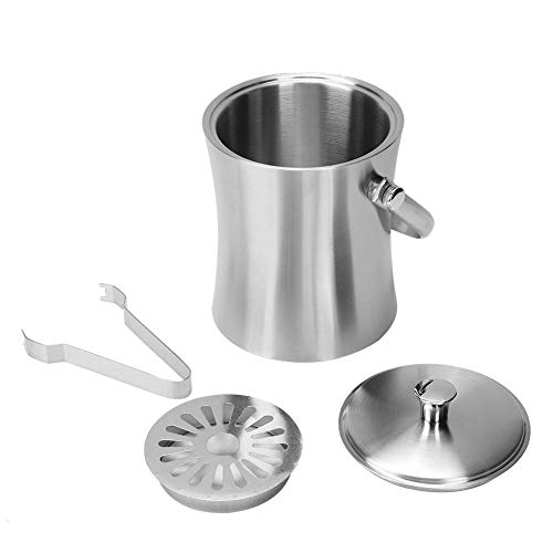 1L Stainless Steel Double Walled Ice Bucket, Ice Bucket Container Beer Champagne Barrel Bar Utensils Household Kitchen Supplies