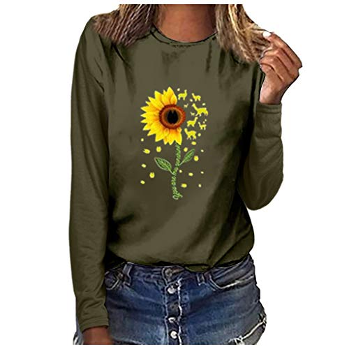 Holzkary Women's Casual Tops Trendy Print Basic Sweatershirts Long Sleeve Round Neck Pullover Soft Blouse(3XL.Green-1