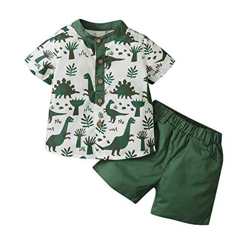 WangsCanis 2-delige jongens-kledingset peuters baby jongen korte mouwen crop top dinosaurus beachwear T-shirt casual…