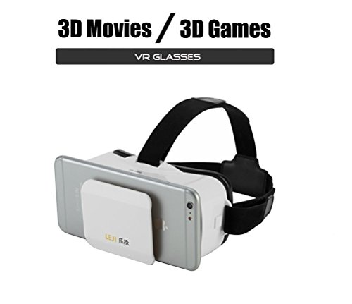 """* Mini * 3D VR Headset Glasses Virtual Reality for iPhone 6s/6 Plus/6/5S/5C/5 Samsung Galaxy S5/S6/Note4/Note5 & Other 4.7""""-6.0"""" Cellphones (White)"""