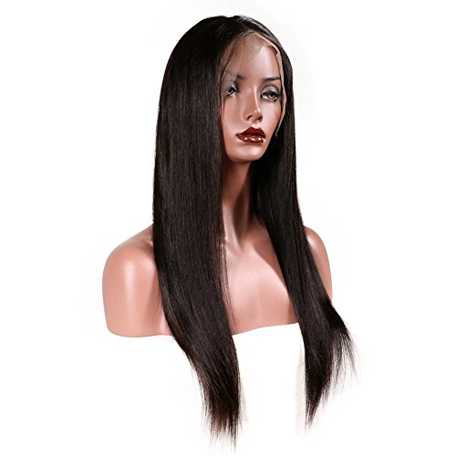 KeLang Brazilian Virgin Human Hair Lace Front Wigs for Black Women Long Straight Pre Plucked Glueless Human Hair Wigs With Baby Hair And Bleached knots 130% Density Natural Black color (Lace Front 16) by KeLang (Image #6)