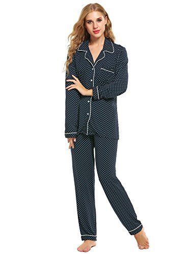 Petite Satin Pajamas - Bifast Ladies Long Sleeve Satin Pajama Set With Longs(Drak Blue,Medium)