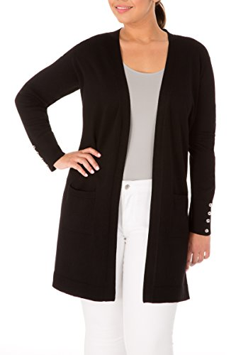 89th + Madison Women's Comfy and Cozy Plus Size Duster Cardigan Sweater Black