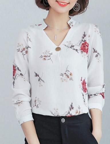 col Femme White YFLTZ Blouse Floral V q0TxwYE